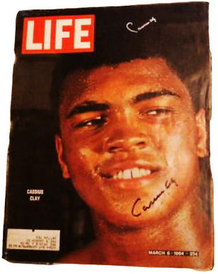 Cassius Clay Super rare Life Magzine Autographed twice and dual OA authenticated