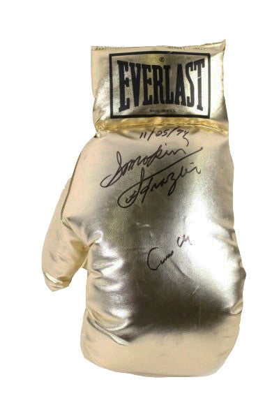 Cassius Clay and Smokin' Joe Frazier Super Rare Autographed 22 inch Size Everlast Gold Boxing Glove