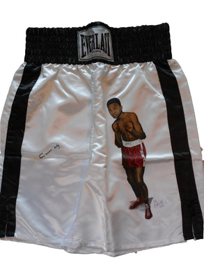 Cassius Clay Autographed and a young Muhammad Ali Painted on these Everlast Boxing Trunks