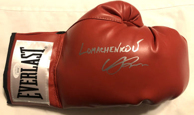 Vasyl Lomachenko Autographed Everlast Red Boxing Glove in Silver Signature JSA