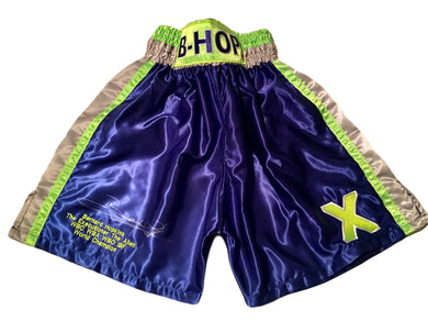 Bernard Hopkins Silver Autographed Custom Made green/purple Boxing Trunks