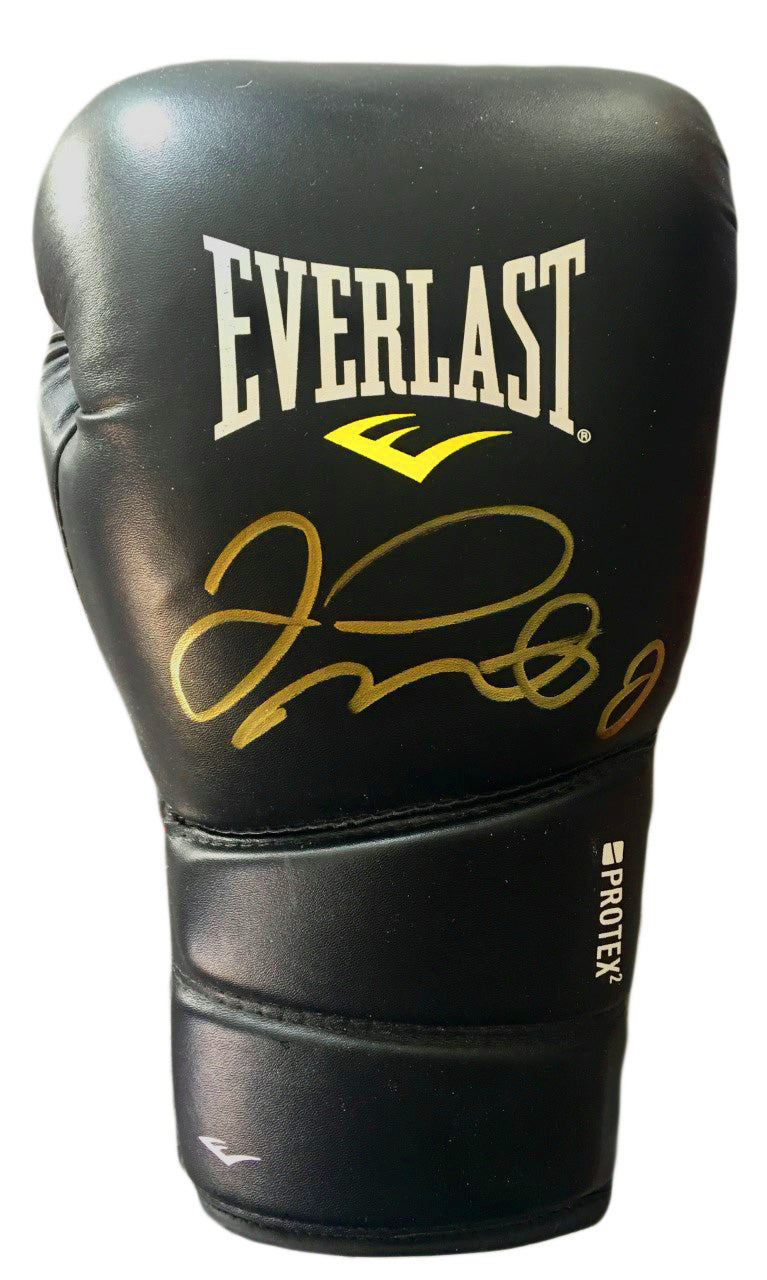 Floyd Mayweather Jr. Autographed Black Everlast Boxing Glove in Gold Marker