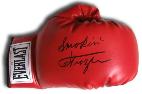 Smokin Joe Frazier Autographed red everlast boxing glove