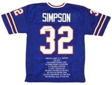 O.J. Simpson Signed Bills Career Highlight Stat Jersey (JSA COA)