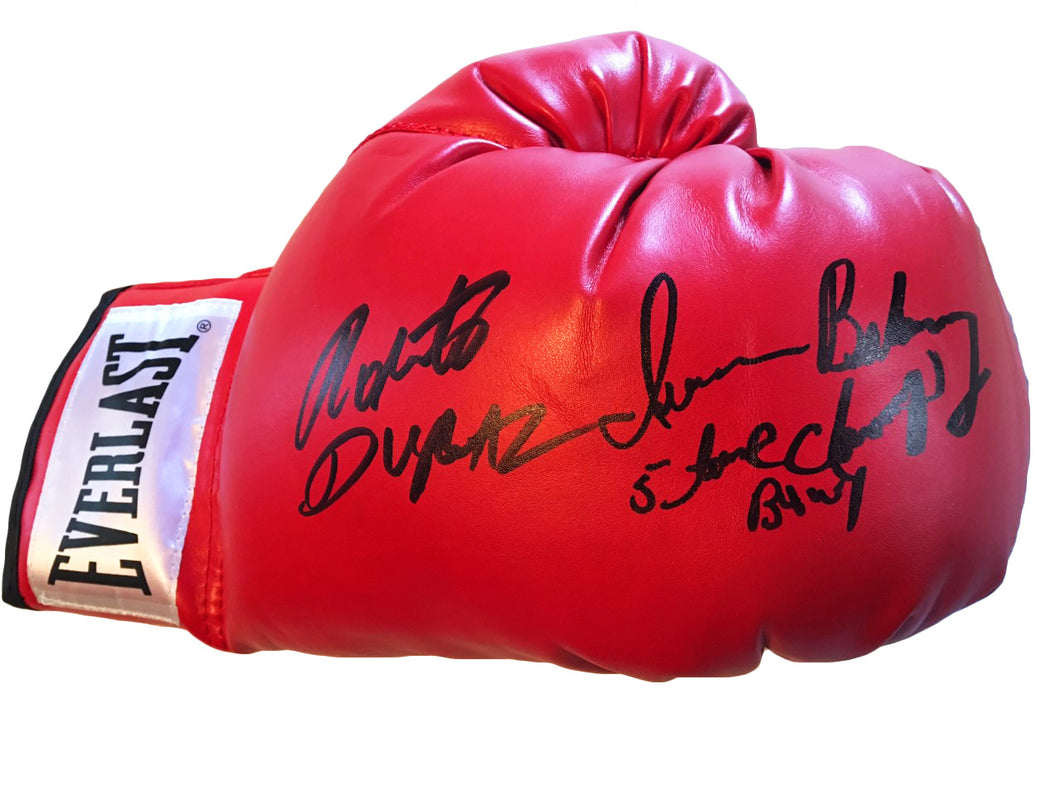 Roberto Duran and Iran Barkley Dual Signed Autographed Boxing Glove