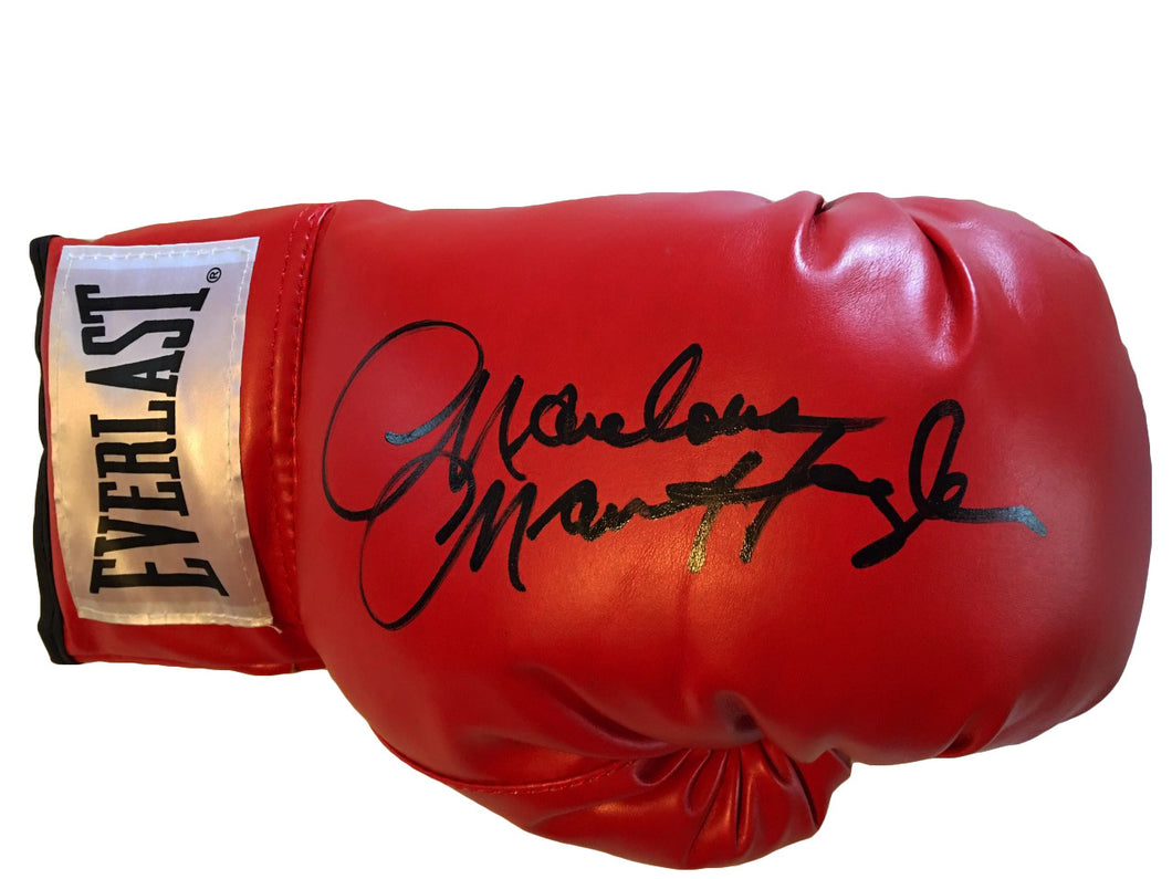 Marvin Hagler Autographed Red Everlast Boxing Glove