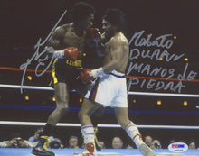 "Sugar Ray Leonard & Roberto Duran Signed 8x10 Photo Inscribed ""Manos De Piedra"" (PSA COA)"
