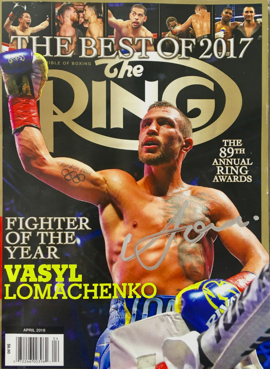 Boxer Vasyl Lomachenko Autographed Ring Magazine in Silver Signature, Photo Proof