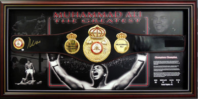 Muhammad Ali Autographed WBA Championship Full Size Belt, Framed, Online Authentics authentication