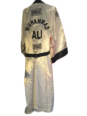 Muhammad Ali Autographed Custom Made White Boxing Robe signed in Blue