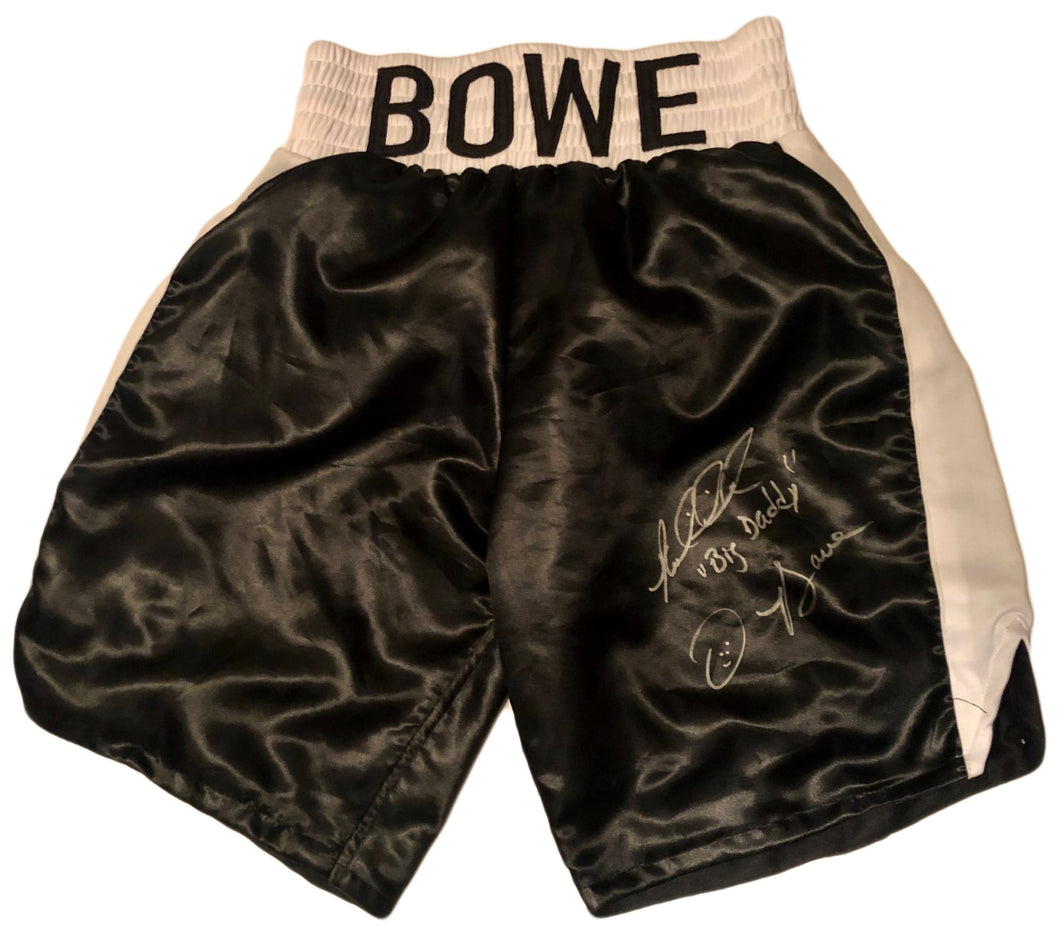 Riddick Bowe Autographed with inscriptions Everlast Boxing Black Trunks