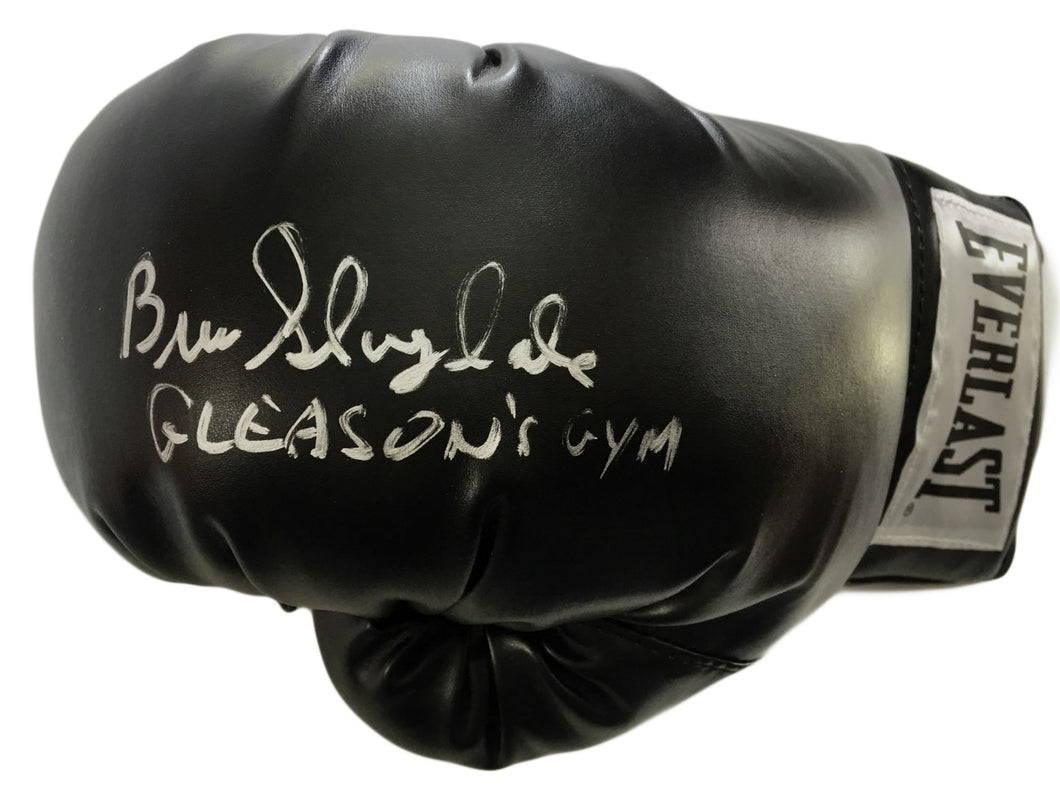 Gleason's Gym Owner Bruce Silverglade Autographed Everlast Black Boxing Glove in Silver Signature