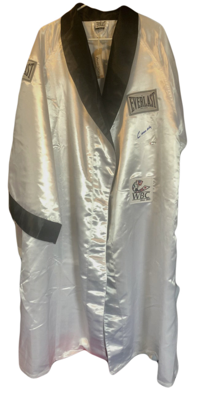 Cassius Clay Autographed Custom Made White Boxing Robe signed in Black, Steiner Card