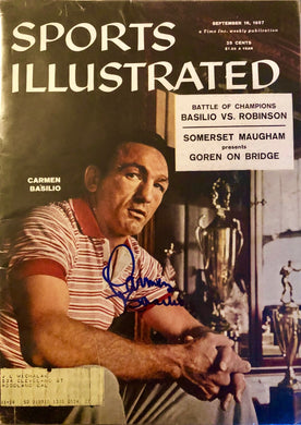 Carmen Basilio Signed Autographed 1957 Vintage Sports illustrated Magazine