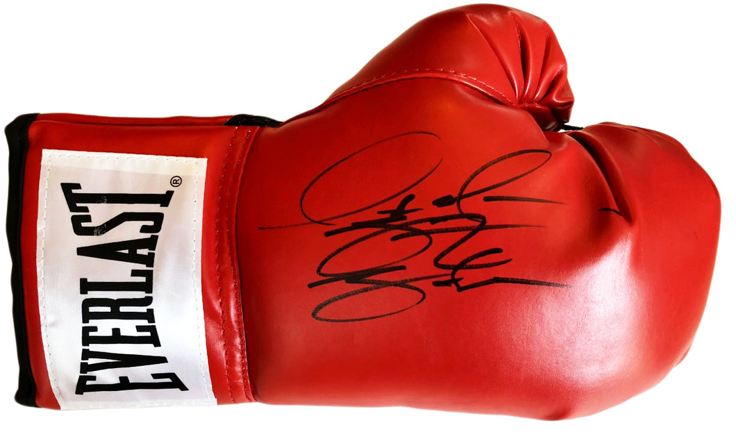 Deontay Wilder Red Everlast Autographed boxing glove in Black marker. JSA