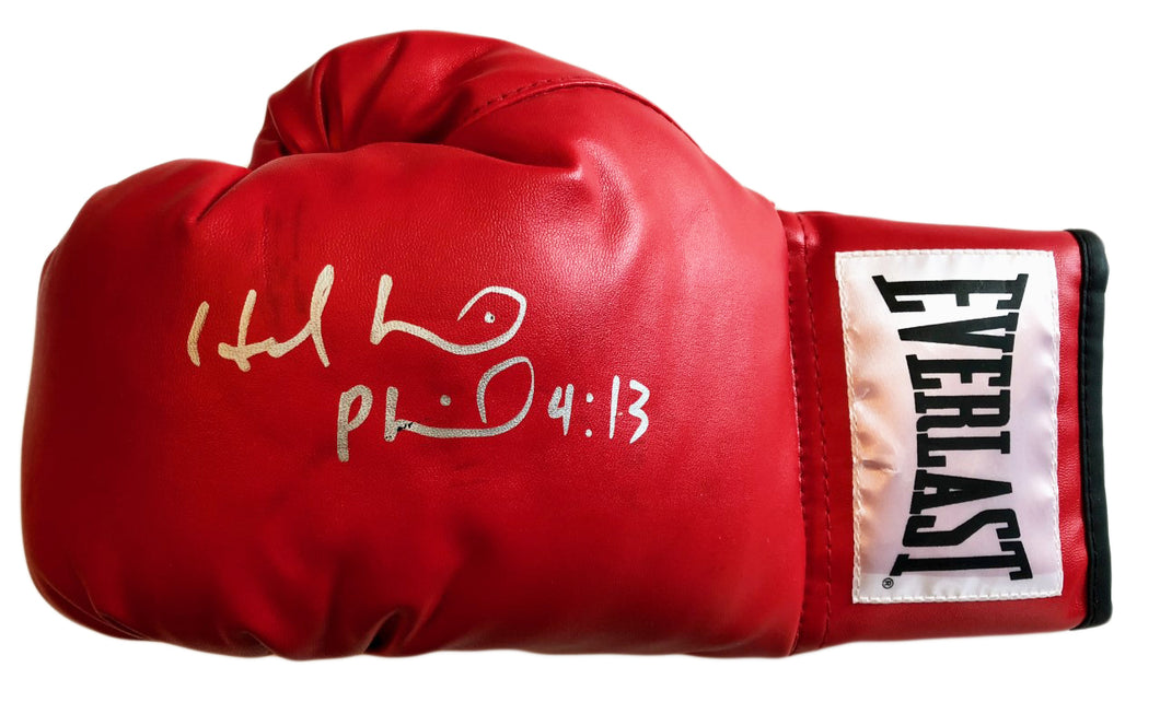 Evander Holyfield Autographed Red Everlast Boxing Glove in Silver