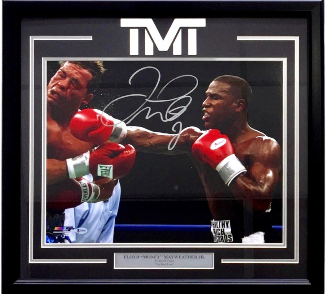 Floyd Mayweather Jr. Signed Arturo Gatti Fight 22x27 Custom Frame Photo Display, Beckett