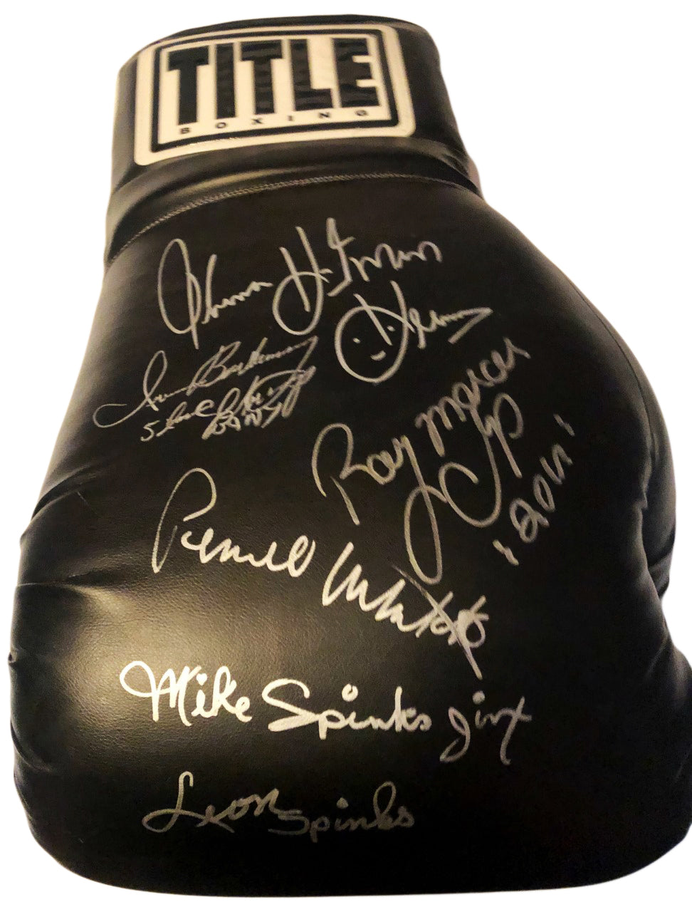 """Multi-Signed Boxers Autographed Huge 22"""" Title Black Boxing Glove in Silver Marker"""