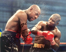 "James ""Lights Out"" Toney Autographed 8x10 boxing photo vs Iran Barkley"