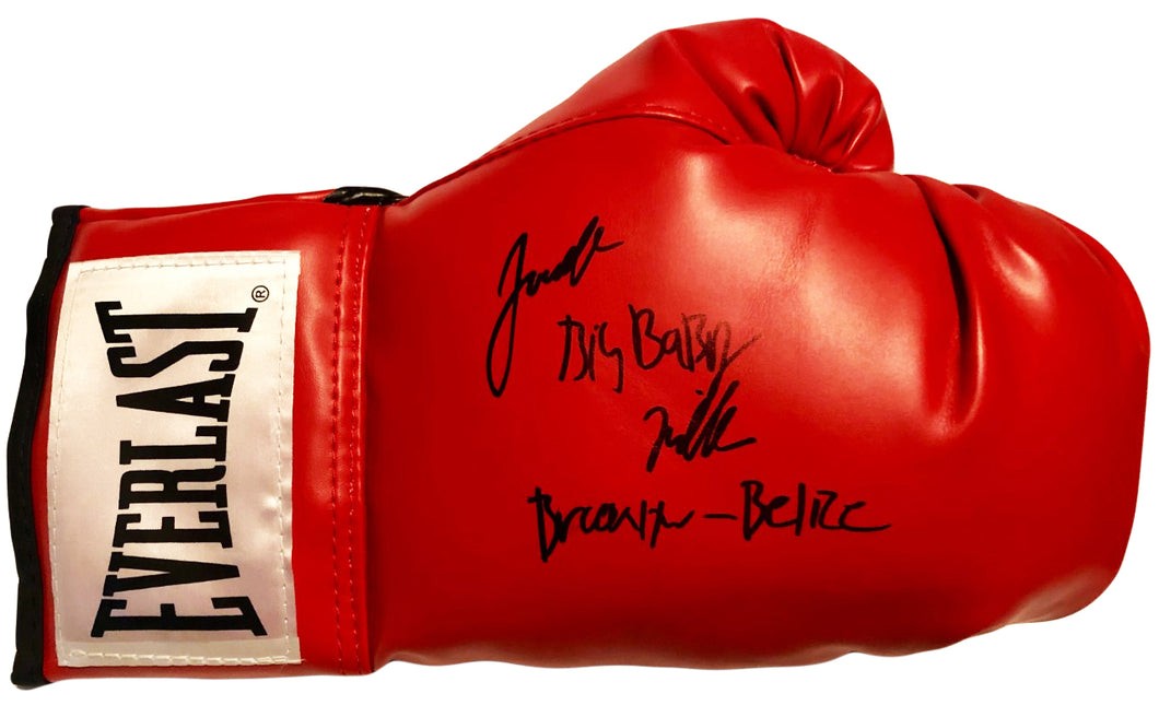 "Jarrell ""Big Baby"" Miller Heavyweight boxer Signed Everlast Glove extra inscription"