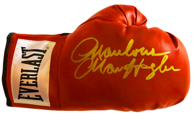 Marvin Hagler Autographed Red Everlast Boxing Glove in Rare Gold