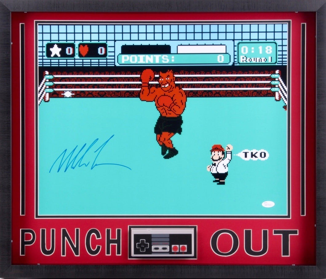 Mike Tyson Signed Punch-Out 21x25 Custom Framed Photo Display (JSA COA)