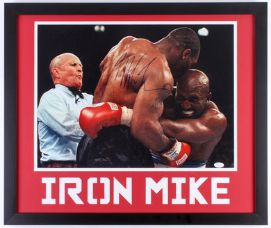 Mike Tyson Signed Iron Mike 22x26 Framed Display with Evander Holyfield (JSA COA)