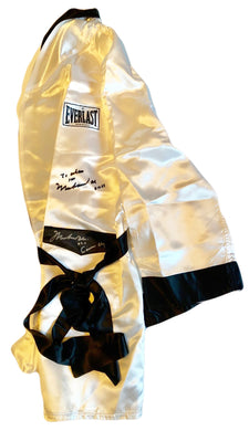 Muhammad Ali Twice Autographed Custom Made White Boxing Robe