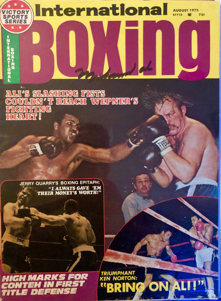 Muhammad Ali signed vintage Autographed international Boxing 1975 Magazine