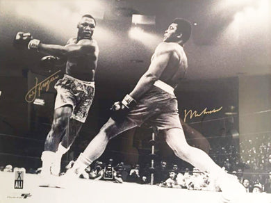 Muhammad Ali Dual Signed Autographed Rare 30 X 40 Size Vs Joe Frazier Photo OA