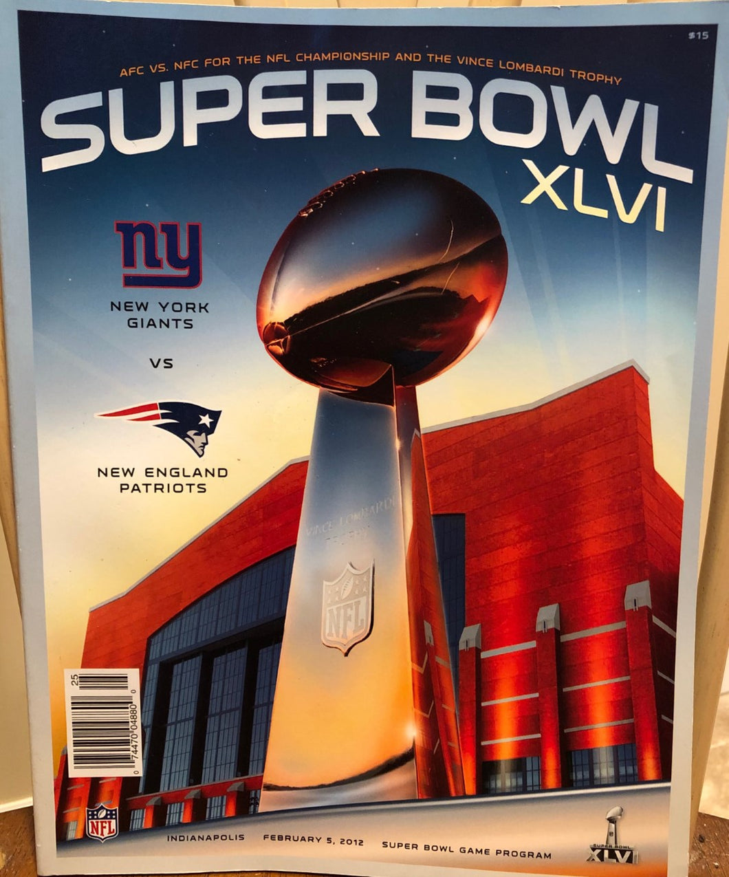 NY Football Giants vs Patriots 2015 Official Yearbook NFL program magazine