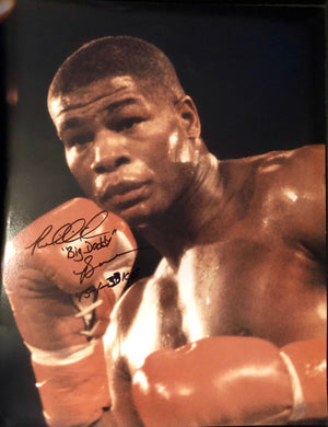 Riddick Bowe Autographed Photo 16x20 with Extra Box Record inscription