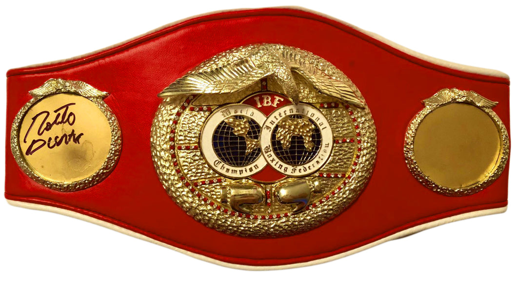 Roberto Duran Hands of Stone Autographed IBF Championship Full Size Belt
