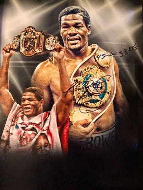 Heavyweight Champion Riddick Bowe Autographed Photo 16x20 with Extra Box Record inscription