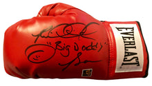 Riddick Bowe Autographed Red Boxing glove with extra inscriptions, Bowe Cert