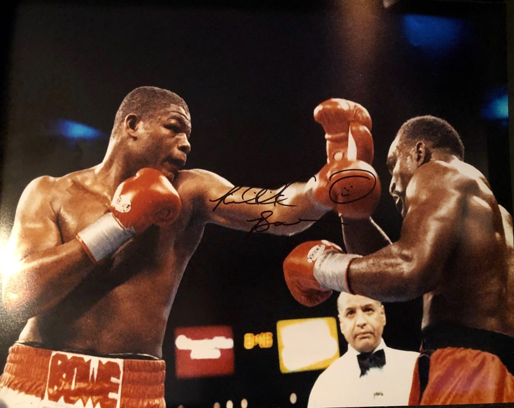 Riddick Bowe vs Evander Holyfield 16x20 autographed fight photo