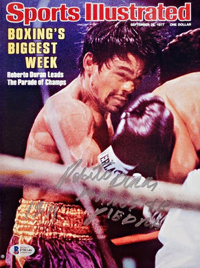 Boxer Roberto Duran Signed Sports Illustrated Magazine in Blue Signature, Beckett