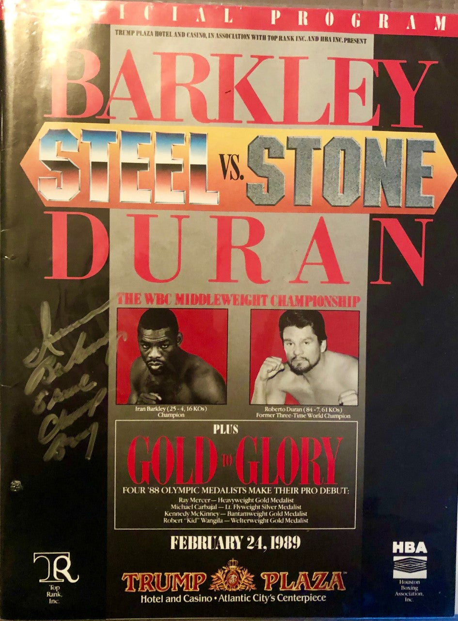 Roberto Duran vs Iran Barkley onsite official program signed by Barkley