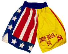 Rocky or Creed Hand made Boxing Trunks along with one side for Drago to get signed