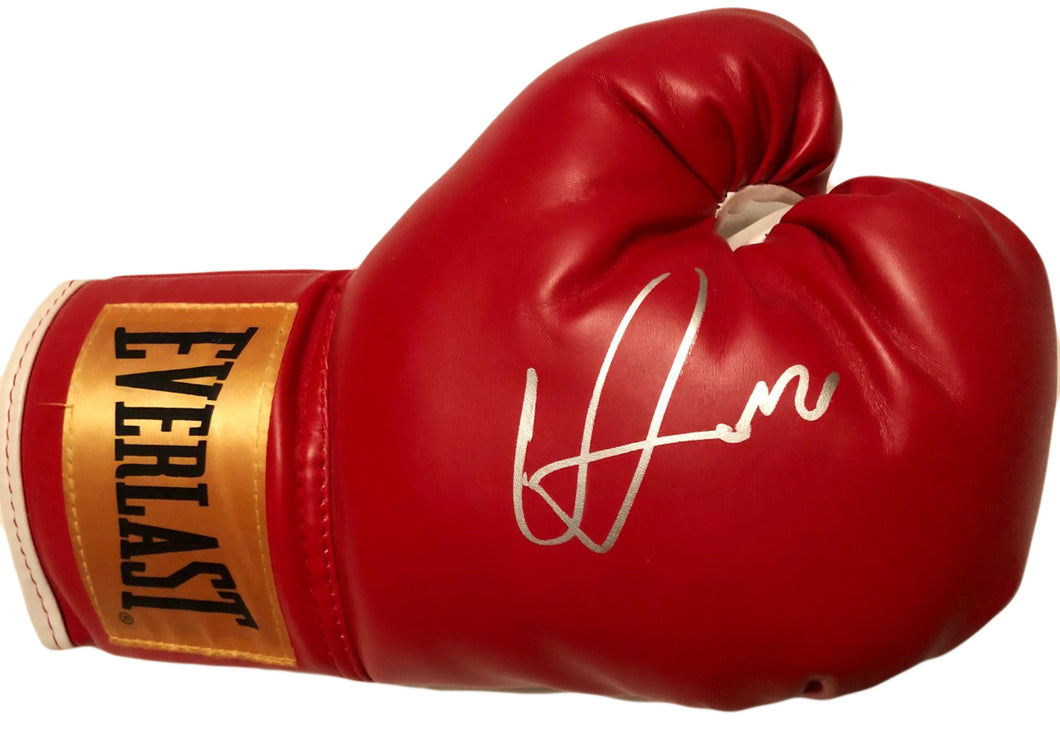 Vasyl Lomachenko Autographed Everlast Red Boxing Glove in Silver Signature