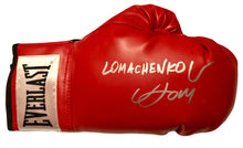 Vasyl Lomachenko Rare Autographed Everlast Red Boxing Glove in Silver Full Signature