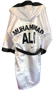 Muhammad Ali Autographed Custom Made White Boxing Robe signed in Black