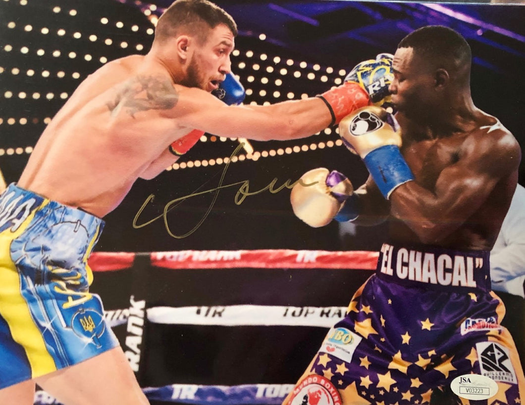 Vasyl Lomachenko Autographed 8 x 10 photo in Gold Signature, JSA CERT