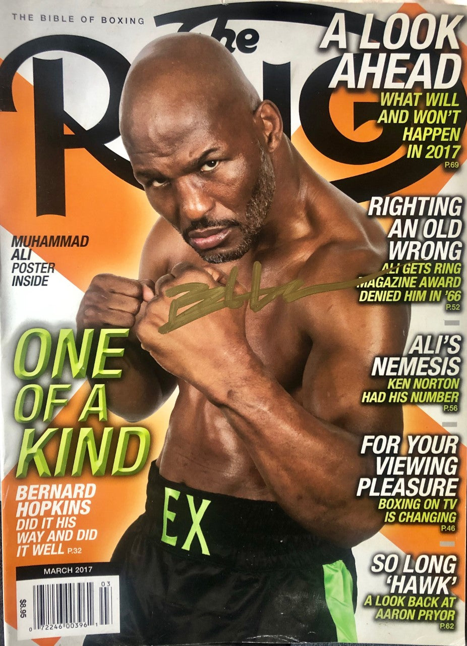 Boxer Bernard Hopkins Autographed Ring Magazine in Gold Signature,