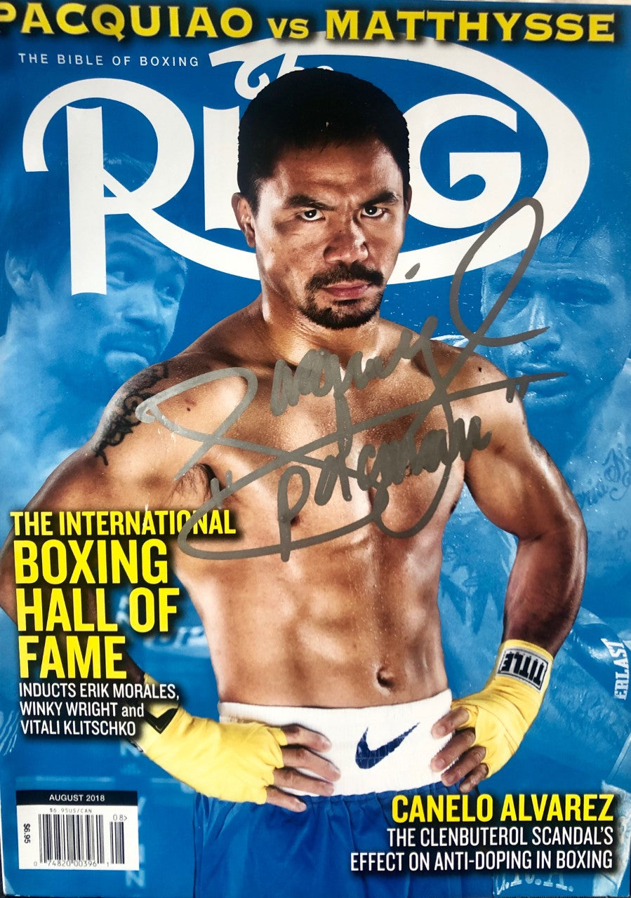 Boxer Manny Pacquiao Autographed Ring Magazine in Silver Signature,