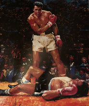 Muhammad Ali over Sonny Liston Autographed 20 x 30 size Photo in Black and white Ali co.