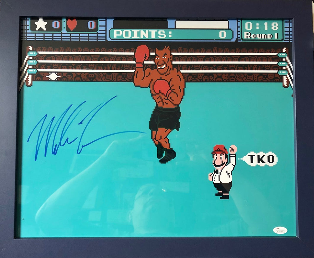 Mike Tyson Blue Framed Signed Punch-Out 16 x 20 Photo Display (JSA COA)