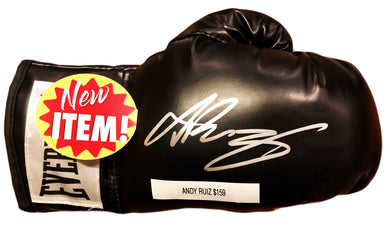 Andy Ruiz Jr. Signed Autographed Black Everlast Boxing Gloves in Silver COA