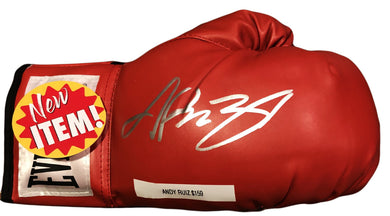 Andy Ruiz Jr. Signed Autographed Red Everlast Boxing Gloves in Silver COA