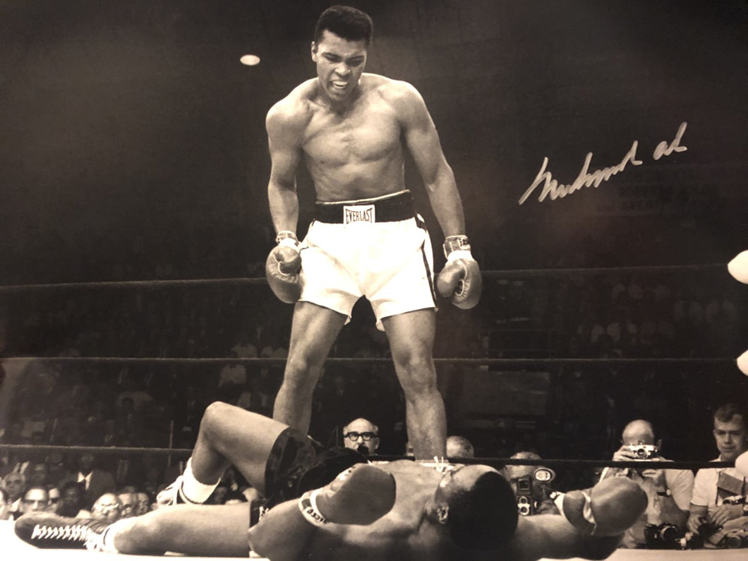 Muhammad Ali over Sonny Liston Autographed 16x20 size Photo in Black and white